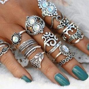 Boho knuckle ring set